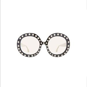 Alice + Olivia Bel Air Round Pearl Trim Sunglasses